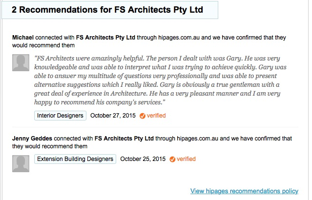 """""""FS Architects were amazingly helpful. The person I dealt with was Gary. He was very knowledgeable and was able to interpret what I was trying to achieve quickly. Gary was able to answer my multitude of questions very professionally and was able to present alternative suggestions which I really liked. Gary is obviously a true gentleman with a great deal of experience in Architecture. He has a very pleasant manner and I am very happy to recommend his company's services."""""""